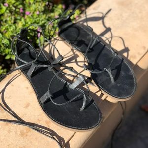 Madewell Black Lace Up Sandals (Size 6)